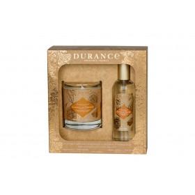 Набор ароматическая свеча и духи спрей для дома, аромат Апельсин и Корица